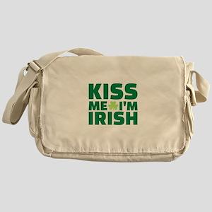 Kiss me I'm Irish shamrock Messenger Bag