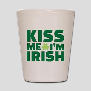 Kiss me I'm Irish shamrock Shot Glass
