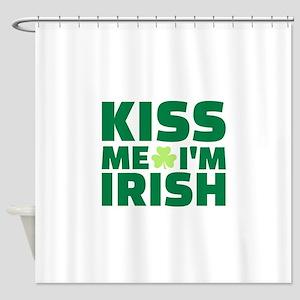Kiss Me Im Irish Shamrock Shower Curtain