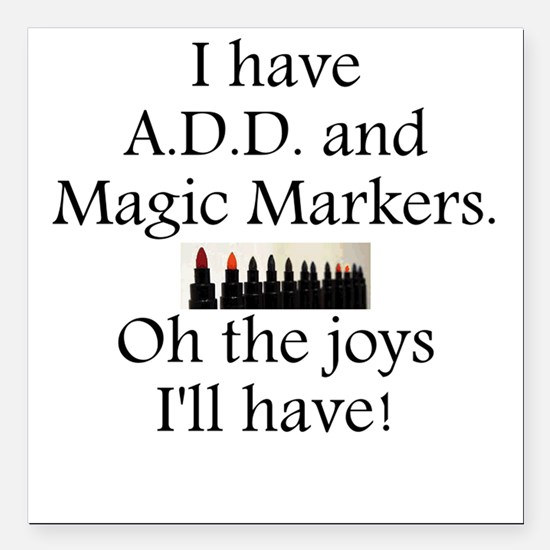"""Magic Marker Front.GIF Square Car Magnet 3"""" x 3"""""""