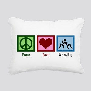 Peace Love Wrestling Rectangular Canvas Pillow