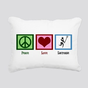 Peace Love Lacrosse Rectangular Canvas Pillow
