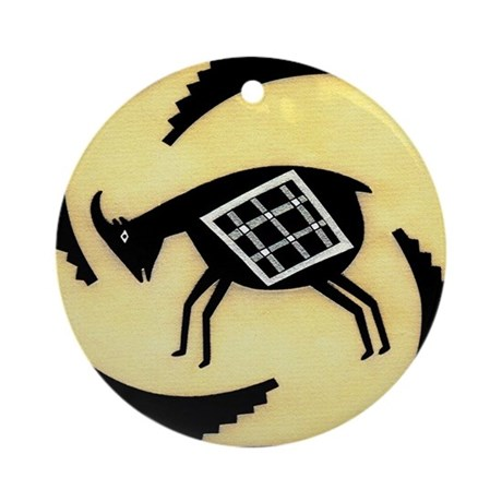 MIMBRES BUTTING GOAT BOWL DESIGN Ornament (Round)