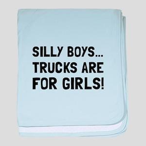 Girls Trucks baby blanket