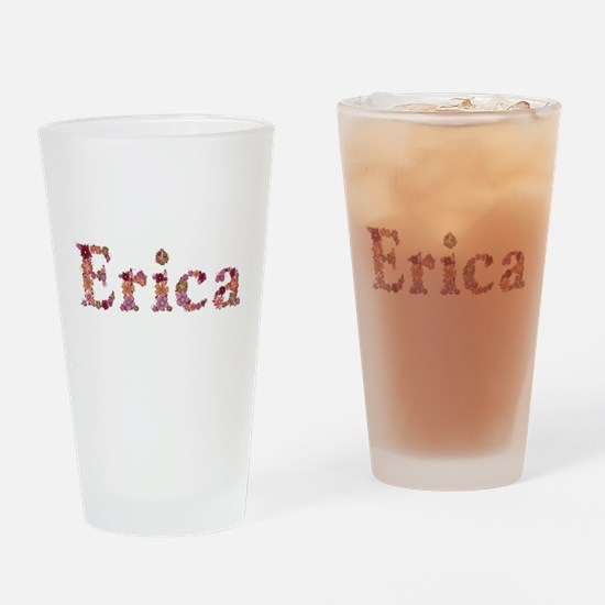 Erica Pink Flowers Drinking Glass
