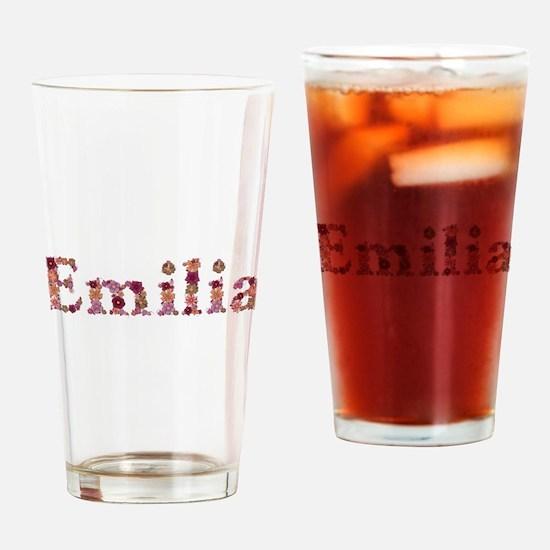 Emilia Pink Flowers Drinking Glass