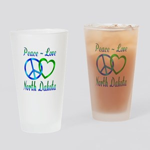 Peace Love North Dakota Drinking Glass