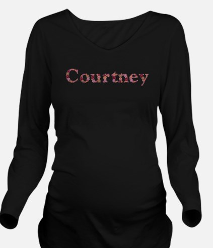 Courtney Pink Flowers Long Sleeve Maternity T-Shir