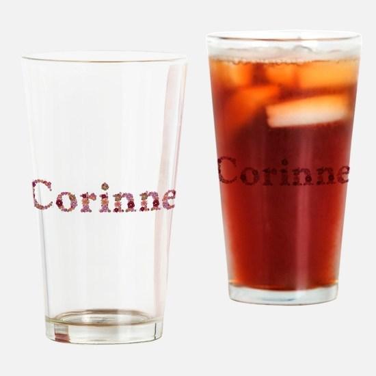 Corinne Pink Flowers Drinking Glass