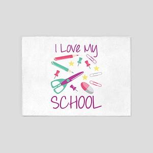 I Love My School 5'x7'Area Rug