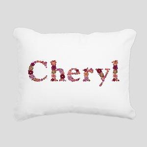 Cheryl Pink Flowers Rectangular Canvas Pillow