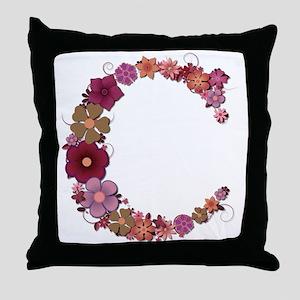 C Pink Flowers Throw Pillow