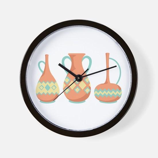 Clay Pottery Wall Clock