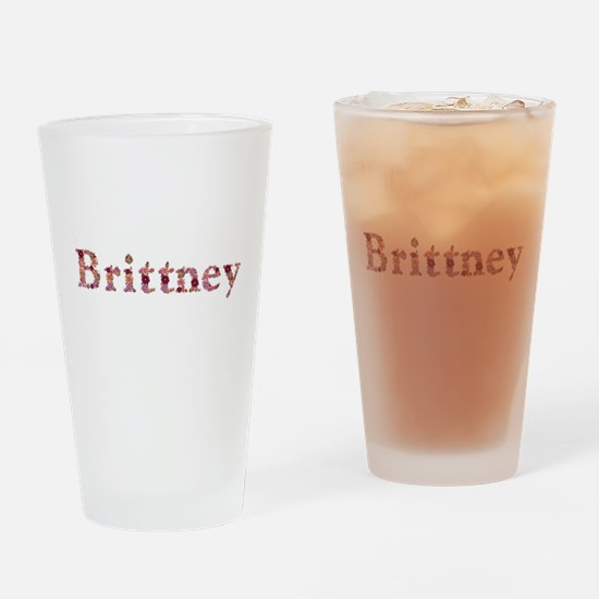 Brittney Pink Flowers Drinking Glass