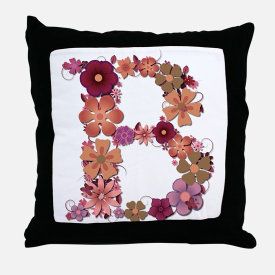 B Pink Flowers Throw Pillow