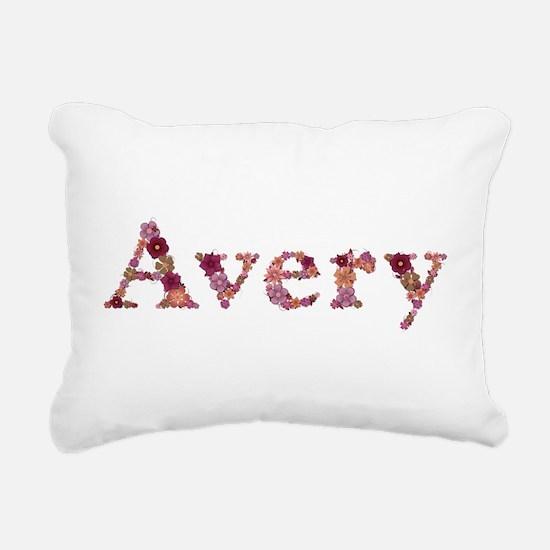 Avery Pink Flowers Rectangular Canvas Pillow