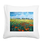 Poppy Field Square Canvas Pillow