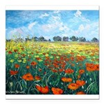 Poppy Field Square Car Magnet 3
