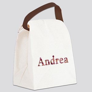 Andrea Pink Flowers Canvas Lunch Bag