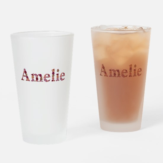Amelie Pink Flowers Drinking Glass