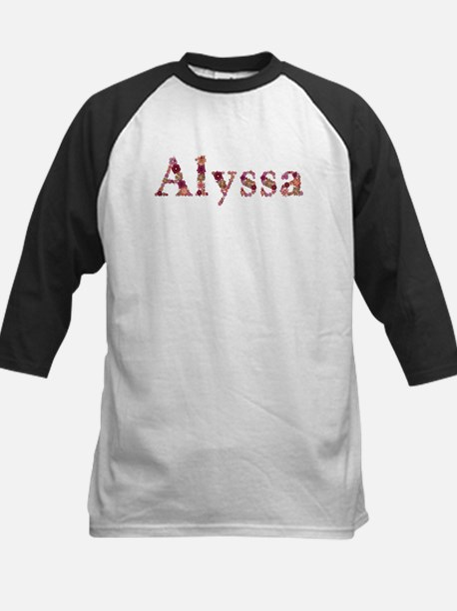 Alyssa Pink Flowers Baseball Jersey