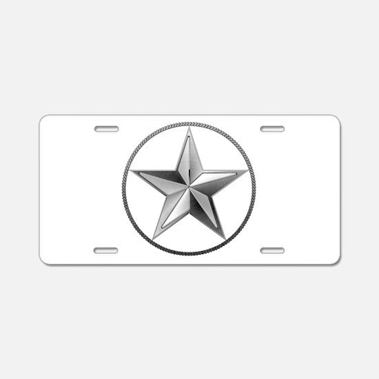 Silver Lone Star Aluminum License Plate