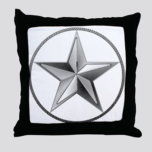 Silver Lone Star Throw Pillow