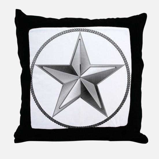 Silver Lone Star Throw Pillow