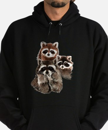 Cute Watercolor Raccoon Animal Family Hoodie