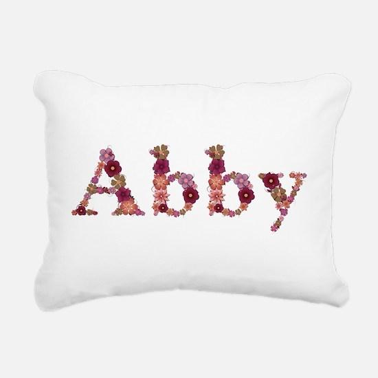 Abby Pink Flowers Rectangular Canvas Pillow