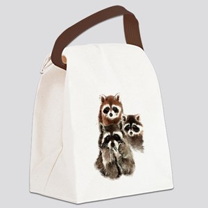 Cute Watercolor Raccoon Animal Family Canvas Lunch