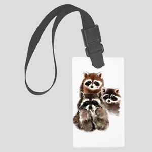 Cute Watercolor Raccoon Animal Family Large Luggag