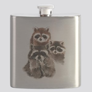 Cute Watercolor Raccoon Animal Family Flask