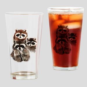 Cute Watercolor Raccoon Animal Family Drinking Gla