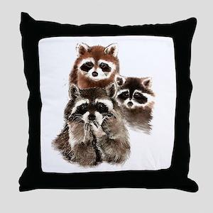 Cute Watercolor Raccoon Animal Family Throw Pillow