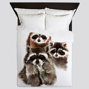 Cute Watercolor Raccoon Animal Family Queen Duvet