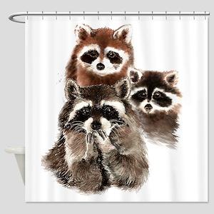Cute Watercolor Raccoon Animal Family Shower Curta