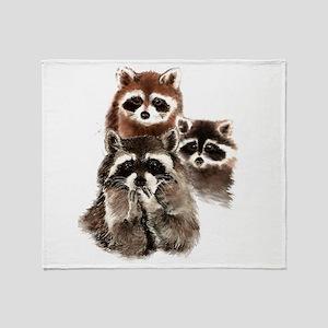 Cute Watercolor Raccoon Animal Family Throw Blanke