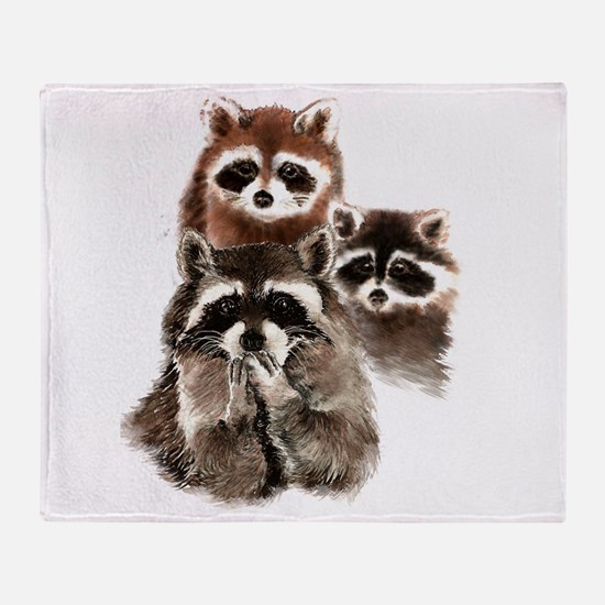 Cute Watercolor Raccoon Animal Family Throw Blanke