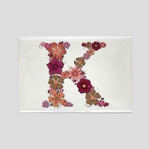 K Pink Flowers Rectangle Magnet