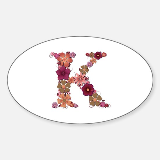 K Pink Flowers Oval Decal