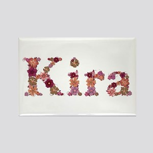 Kira Pink Flowers Rectangle Magnet