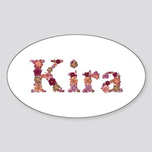 Kira Pink Flowers Oval Sticker