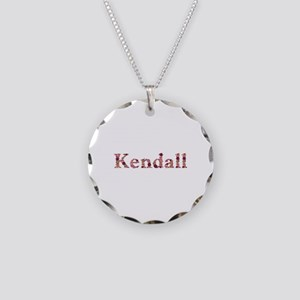 Kendall Pink Flowers Necklace Circle Charm