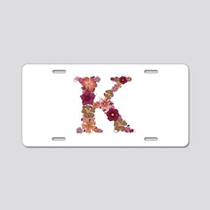 K Pink Flowers Aluminum License Plate