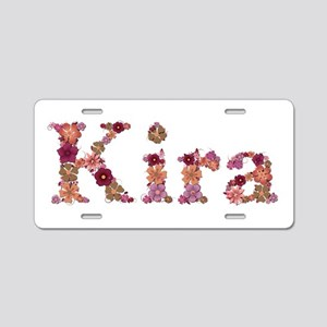 Kira Pink Flowers Aluminum License Plate