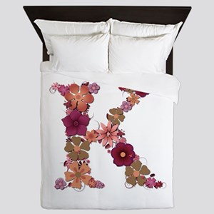 K Pink Flowers Queen Duvet