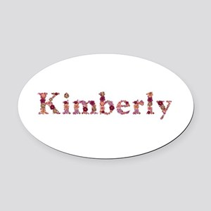 Kimberly Pink Flowers Oval Car Magnet