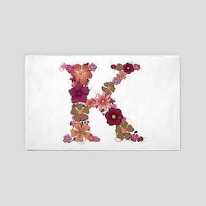 K Pink Flowers 3'x 5' Area Rug