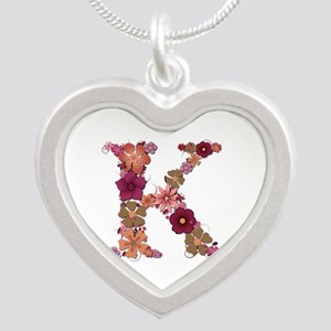 K Pink Flowers Silver Heart Necklace